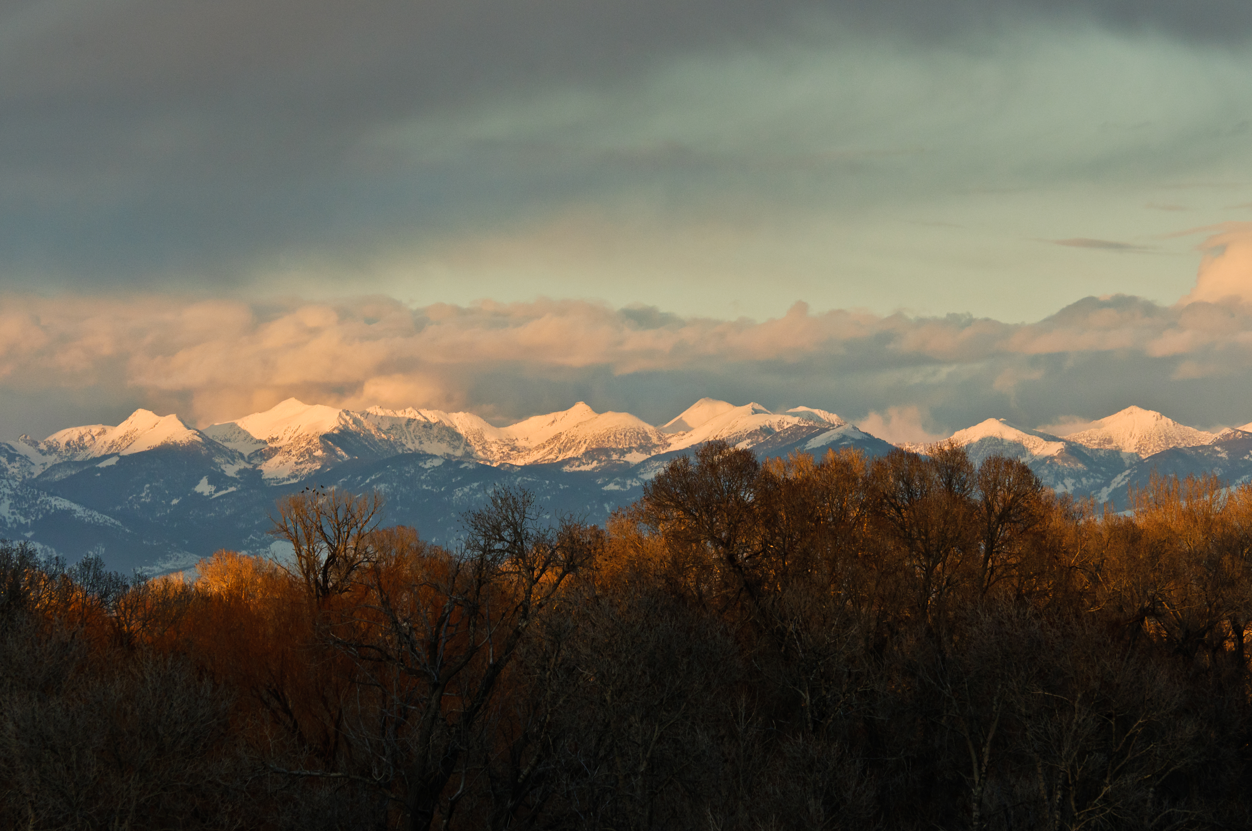 Sunset over the Tobacco Root Mountains during a spring storm